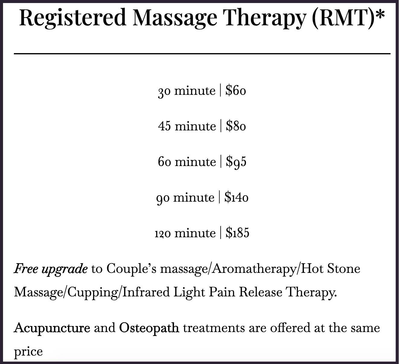 Massage price 1 in Vaughan