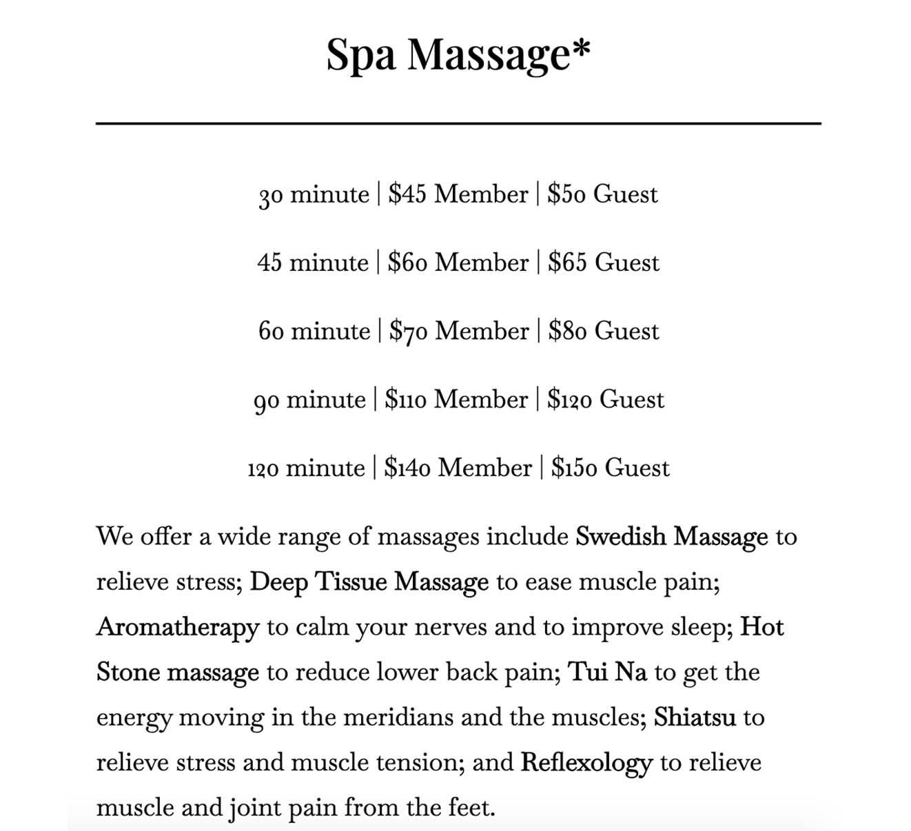 Massage price 2 in Vaughan