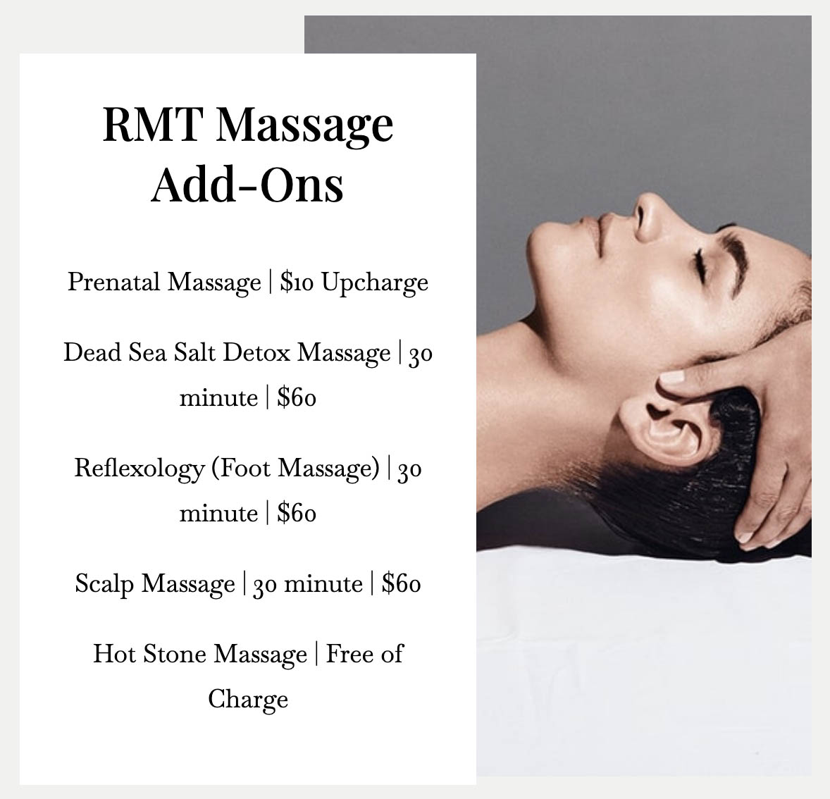 Massage price addon 1 in Vaughan